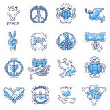 Peace vector peaceful symbol of love and peacefulness or peacekeeping signs illustration set of peaceable icons with. Peace vector peaceable symbol of love and Royalty Free Stock Image