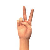 Peace or victory sign, hand isolated on white background Royalty Free Stock Photos