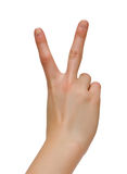 Peace / victoty gesture. Isolated on white Stock Photography