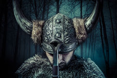 Peace, Viking warrior, male dressed in Barbarian style with swor Royalty Free Stock Photo
