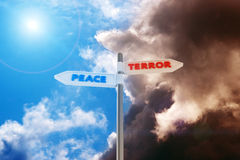 Peace vs Terror. Road sign Peace-Terror against a contrast sky Royalty Free Stock Photography
