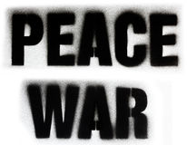 Peace and war. Detail of a written war peace sprayed with the airbrush Stock Photography