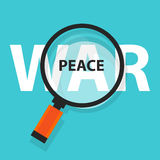 Peace war politics concept analysis magnifying glass symbol Stock Images