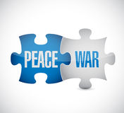 Peace and war puzzle pieces sign Stock Photos