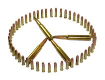 Peace and war. Peace symbol made out of ammunition Royalty Free Stock Photography
