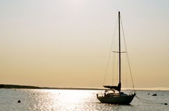 Peace on the waters of Cape Cod. A lone sail boat rests on Cape Cod in summer time Stock Images