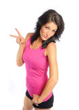 Peace woman. Attractive young hispanic woman peace sign on white background Stock Photos