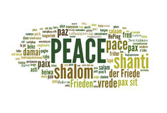 Peace. Word cloud of the term peace in different languages on white background Stock Images