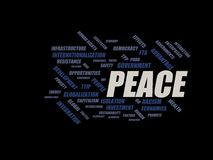 Peace - word cloud wordcloud - terms from the globalization, economy and policy environment. Wordcloud with series of terms from the globalization, economy and Stock Photography