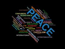PEACE - word cloud wordcloud - terms from the globalization, economy and policy environment Royalty Free Stock Photos