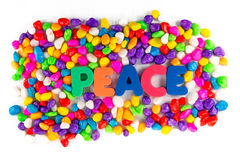 Peace word in colorful stone Royalty Free Stock Photography
