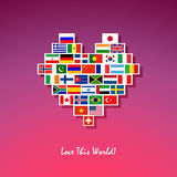 Peace world heart. Peace heart made of different country flags Stock Images