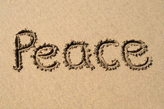 Peace, written on a beach. Royalty Free Stock Photo