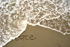 Peace Written in the Sand Stock Photography