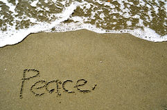 Peace Written in Sand Stock Image