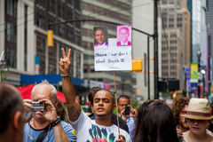 Peaceeee. New York City protest of Syrian invasion Royalty Free Stock Photos