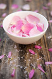 Peaceful. Bowl of scented rose petals - shallow depth of field Stock Image
