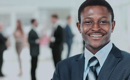 Peaceful african american businessman in office Royalty Free Stock Photo