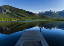 A Peaceful Afternoon Down by the Lake. Overlooking the Rocky Mountains and Vermilion Lakes Royalty Free Stock Images