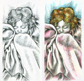 Peaceful baby sleeping. On the left side pencil drawing. On the right side colored drawing vector illustration