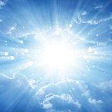 Peaceful background. Beautiful blue sky with bright sun, heaven Royalty Free Stock Photo