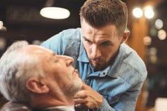 Peaceful barber styling beard of the old man in barbershop Stock Photo