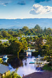 Peaceful Bay By The Mountains. A little bay at the Gold Coast City, Queensland, Australia. Hard to believe this place is almost in the middle of the city royalty free stock photo