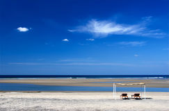 Peaceful beach. Mandrem beach, Goa, India. Arabian sea. Indian ocean royalty free stock images