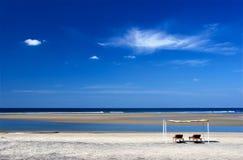 Peaceful beach. Mandrem beach, Goa, India. Arabian sea. Indian ocean Royalty Free Stock Images