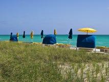 Peaceful Beach Cabanas Stock Photo