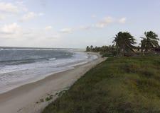 Peaceful beach, excellent to relax e recover life energy. Calm waves, white sand and a beautiful skyline.nSouth Natal, Rio Grande do Norte coastline Stock Photos