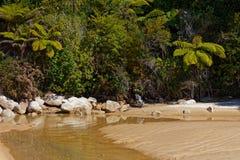 A peaceful beach scene, Abel Tasman National Park, New Zealand stock image