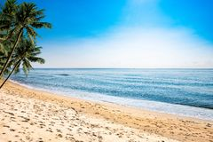 A peaceful beach scene in Thailand, exotic tropical beach landscapes and blue sea under a blue background. Relaxing summer holiday royalty free stock image