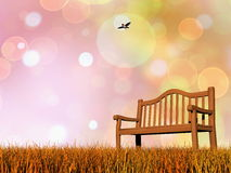 Peaceful bench - 3D render. Simple wooden bench and flying bird in autumnal colorful background - 3D render Stock Photography