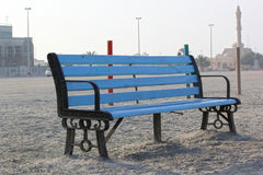 Peaceful Bench Seat in beach side view, Dubai. Stock Photos
