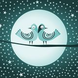 Peaceful birds sleeping at night. A couple of peaceful birds sleeping quietly on a full moon night royalty free illustration