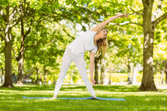 Peaceful blonde doing yoga in the park Stock Photo