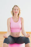 Peaceful blonde pregnant woman sitting on exercise ball Royalty Free Stock Photos
