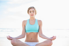 Peaceful blonde woman in sportswear practicing yoga Stock Images