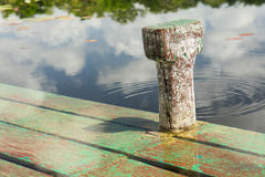 Peaceful boat dock on pond. Wooden boat dock on peaceful pond Stock Photography