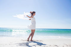 Peaceful brunette enjoying the air. At the beach Stock Images