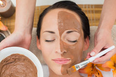 Peaceful brunette getting a mud facial applied Stock Photos