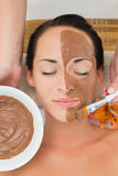 Peaceful brunette getting a mud facial applied Stock Photo