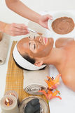 Peaceful brunette getting a mud treatment facial Royalty Free Stock Photo