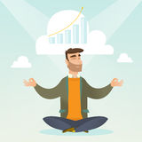 Peaceful business woman doing yoga. Caucasian hipster businessman doing yoga in lotus position and thinking about the growth graph. Peaceful businessman royalty free illustration