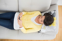 Peaceful casual brunette in yellow cardigan using a mobile phone Stock Photography