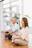 Peaceful casual business colleagues meditating Stock Photo