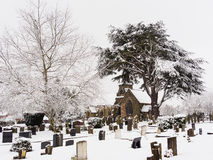 Peaceful Cemetery in Winter Snow Royalty Free Stock Photos
