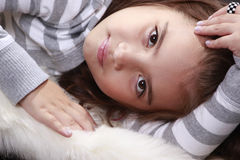 Peaceful child. Peaceful expression from a cute preteen Stock Images
