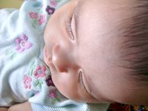Peaceful child. Baby sleeping peacefully after feed (eyes in focus Royalty Free Stock Photos